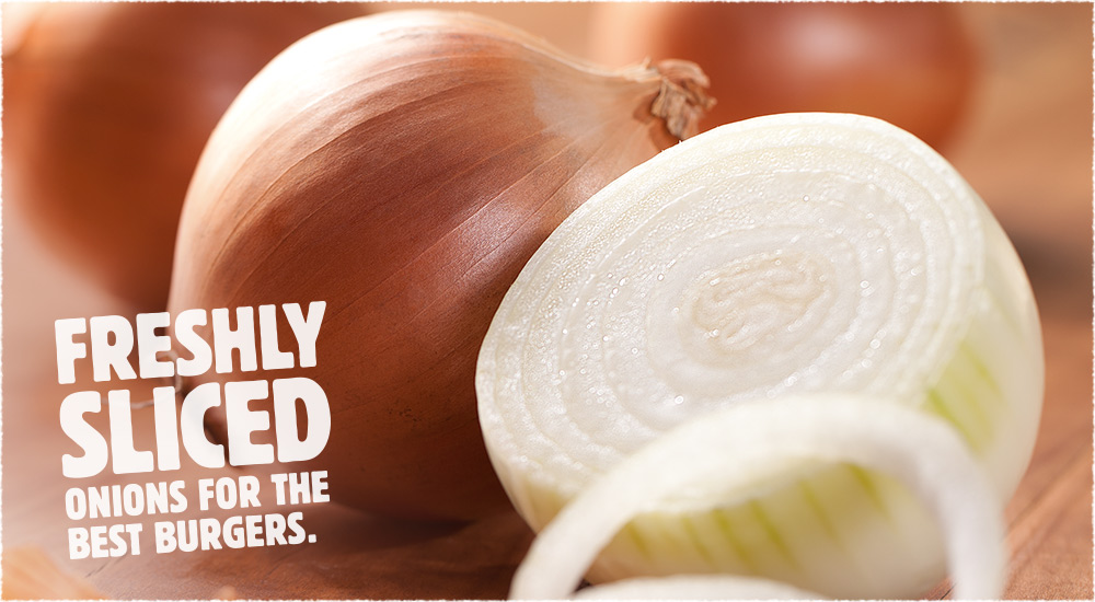 Freshly Sliced onions for the best burgers.